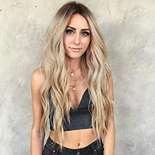AISI HAIR Long Blonde Curly Wavy Wigs Middle Part Ombre Blonde Natural Looking Long Thick Wavy Wig For Women Long Heat Res...
