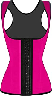 ad588e20c9 JerrisApparel Women s Latex Waist Trainer Shapewear Workout Waist Cincher  Vest