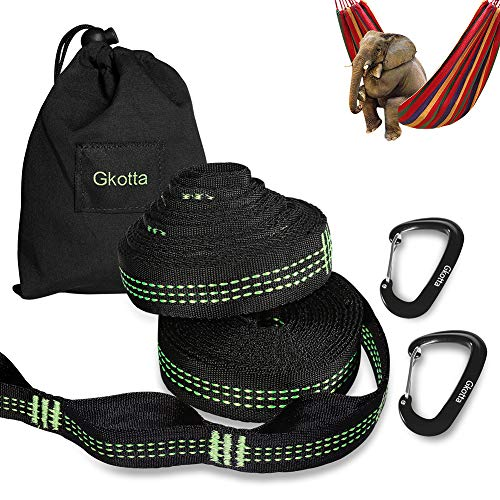 Gkotta XL Hammock Straps, Hammock Tree Straps Lightweight 20FT Long 32 Adjustable Loops Total with 2 Carabiners Holds up to 1000 Lbs Each Strap