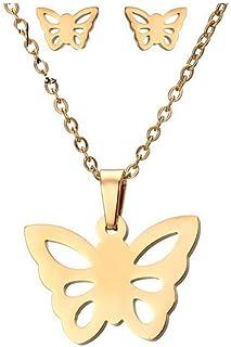 Collana con orecchini in acciaio inossidabile ECG Set Ornament Necklace, 4