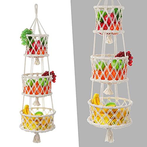 LIBWYS Obstkorb Hängend Obst Hängekorb 3 Etagen, 3 Etagere Obstkörbe zum Aufhängen (101cm)