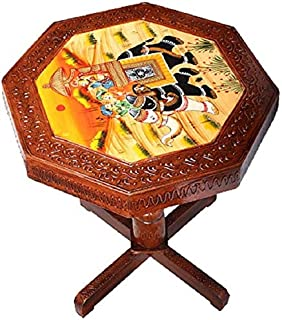Fashion Bizz Royal Rajasthan Round Shape Wooden Stool/Coffee Table/End Table/Outdoor/Cafeteria Bamboo Side Table