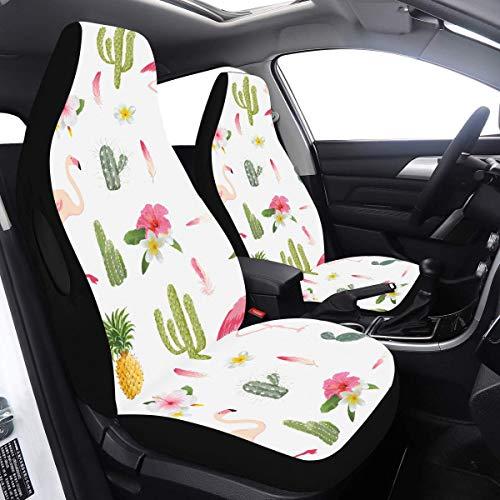 Read About Car Covers Large Tropical Flamingo Bird Cactus Car Seat Protectors 2 Pcs Universal Fit Ai...