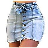 Jupe Short Femme Mini Courte éVaséE Taille éLastique Haute pour Casual Jupe en Jean Skinny Bouton...