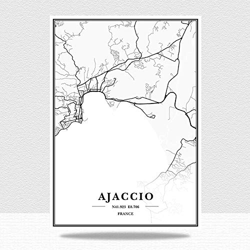 guatan Impression sur Toile,France Ajaccio City Maps Wall Art Picture, Black and White Art Minimalist Non-Tissed Mural, Modern Frameless Painting, Living Room Bedroom Home Decoration,40 * 50Cm