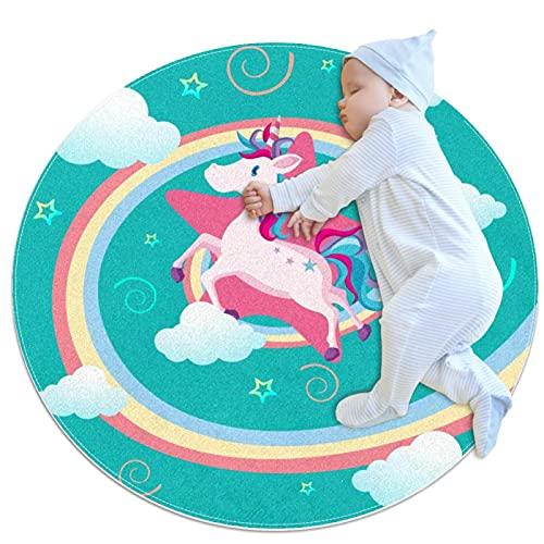 Felpudo de unicornio con estrella rosa, lavable, antideslizante, para salón, cocina, dormitorio, decoración del hogar de 2,62 pies