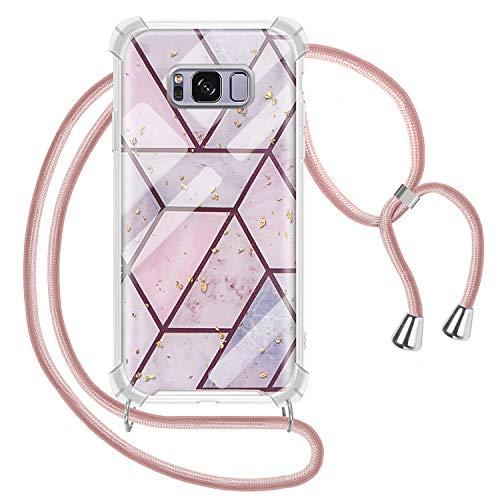 Genrics Handykette Hülle für Samsung Galaxy S8, Marmor Glitzer Necklace Hülle mit Kordel Transparent Silikon Handyhülle mit Kordel zum Umhängen Schutzhülle mit Band in Roségold