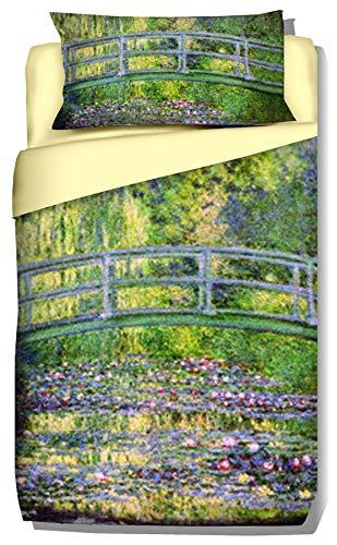 copripiumino singolo 240x155 Deco Italia Set Copripiumino copriletto Monet Ponte Giapponese 100% Cotone   Singolo 155 x 240 cm + Federa 50 x 80 cm