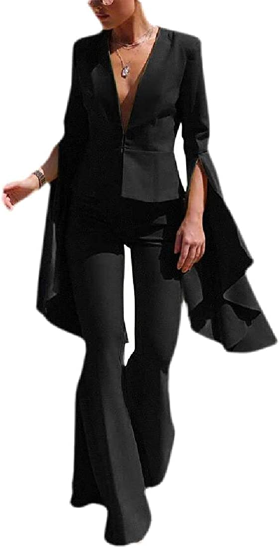 Womens Two Pieces Flare Sleeve Blazer Jacket + Bell Bottom Pants Set Suit