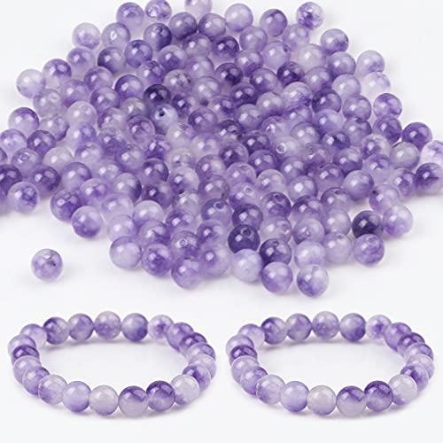 RUIYELE 200 cuentas de piedra natural de 8 mm para hacer joyas, cuentas de piedras preciosas de 1 mm para hacer collares y collares y manualidades, color morado