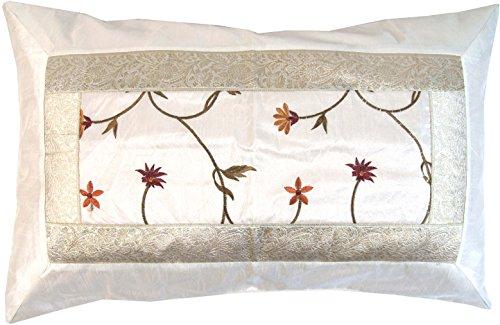 Guru-Shop Oosterse Brokaatkussenhoes 70x45 cm - Wit, Synthetisch, Decoratiekussen Sofa-kussen