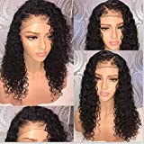 Fureya Short Full Lace Human Hair Wigs Pre Plucked With Baby Hair Deep Part Curly Brazilian Remy Hair Full Lace Wigs 150 density 20 inch