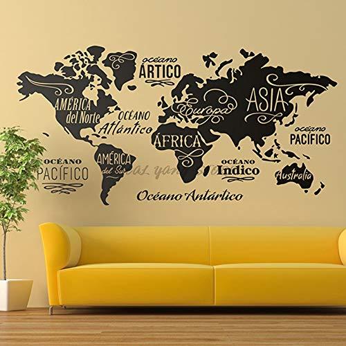 Haus Dekoration Große Weltkarte Wandtattoo Kontur Weltkarte Aufkleber-Hauptschlafzimmer Wohnzimmer-Dekor-entfernbare Vinylfolie Wandgemälde B2-022 (Color : Schwarz, Size : 84X42CM)
