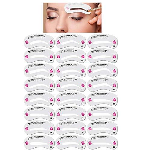 24 Formen Augenbrauen Schablone, Augenbrauen Form Schablonen Wiederverwendbares DIY Make up Werkzeug Set, für Verfassung Makeup Schöne Augenbrauen