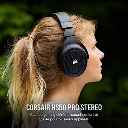 Corsair HS50 PRO Stereo Casque de Gaming Mousse à mémoire ajustables Oreillettes, Unidirectionnel Antibruit amovible Microphone avec PC, PS4, Xbox One, Switch et appareils mobiles Compatibilité - Bleu