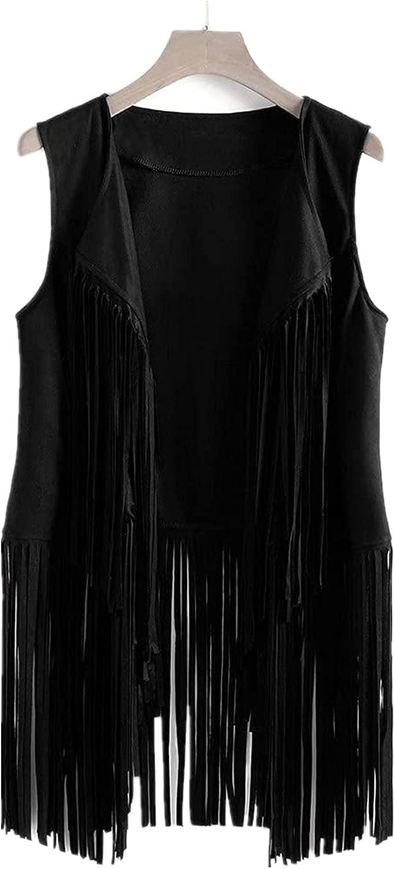 Fringe Vest for Women Suede Faux Tassels Vest 70s Ethnic Winter Open-Front Sleeveless Vest Western Cowgir Tops Waistcoat