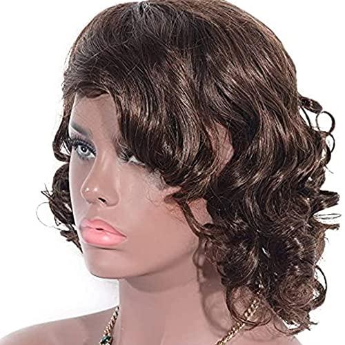 HTDYLHH Mooie pruiken, Haarvervanging Pruik, pruiken Europese en Amerikaanse stijl, echt haar, lang krullend haar, bruin…