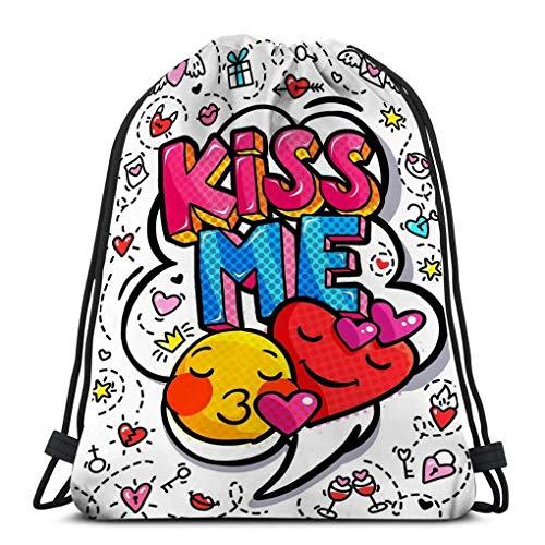 KKs-Shop Yoga Drawstring Taschen Reisen für Männer & Frauen Me Word Bubble Nachricht Pop Art Comic-Stil Hand gezeichnet Hearts Me Word Bubble Psychedelic