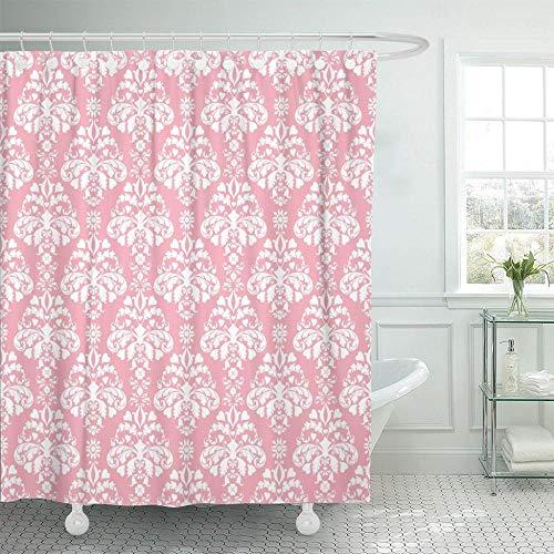 Brandless Abstracto Rosa Blanco Damasco Antiguo Barroco Belleza Elegante Color Cortina de Ducha Impermeable Tela de poliéster-180x200cm