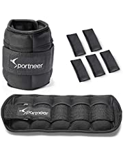 Sportneer gewichtsmanchetten, verstelbare enkelgewichten set, voet-/polsgewicht manchetten, 0,45 kg tot 3,2 kg, verpakking van 2, zwart