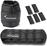 Sportneer Adjustable Ankle Weights Set, Ankle Wrist Weight Straps, 0.45Kg to 3.15Kg, 2 Pack, Black