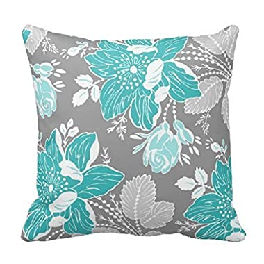18  x 18  Turquoise Gray White Floral Decorative Decorative Throw Pillow Case Cushion Cover by Leiacikl22