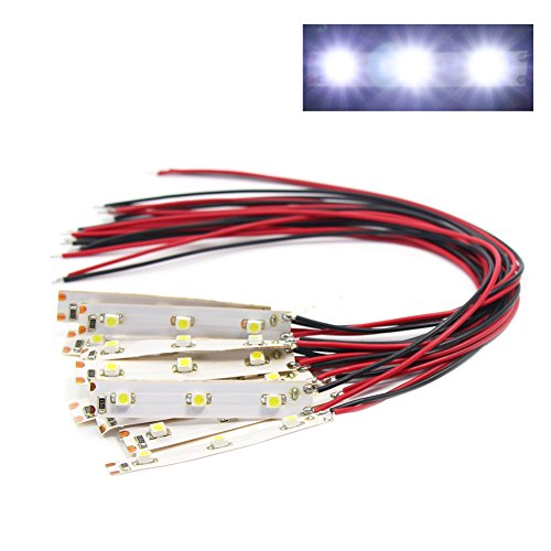 Evemodel DD01W NEU 10 STK. 3-LED Hausbeleuchtung 5cm Weiss mit Kabel 20cm 12-18 V