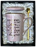 Best Friend, Friendship Gifts for Women - Good Friends Are Like Stars - Birthday Gifts for Her, Friends Female, Sister, Bestie, BFF Gifts - Ceramic Marble Coffee Mug Gifts Box Printed Gold 14oz Pink