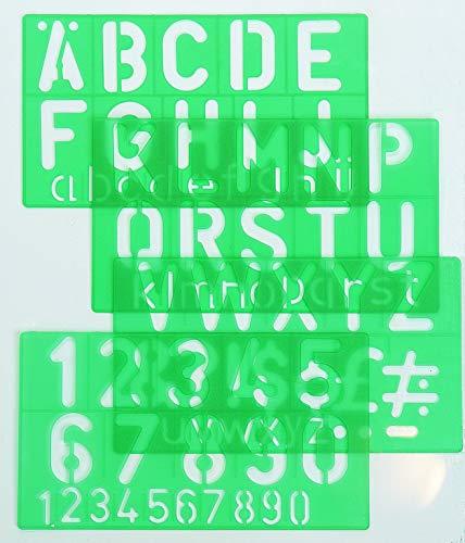 Linex Schriftschablone 8550 Schrifthöhe 50 mm, große kleine Buchstaben, Ziffern und Symbole, 4 Stück im Set