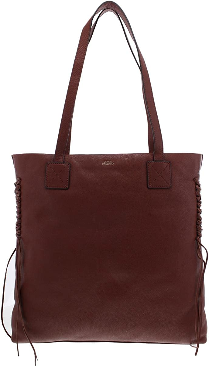 Vince Camuto Womens Jayde Pebbled Leather Tote Handbag Brown Large