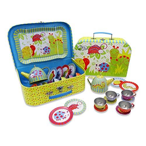 Wobbly Jelly Wackelkäfer Teeservice aus Metall mit Koffer für Kinder (14 Stck. Spielgeschirr) Grün, Blau, Gelb, Rot