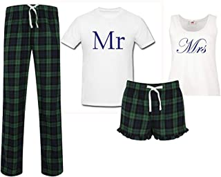 60 Second Makeover Limited Mr and Mrs Wedding Couples Matching Pyjama Tartan Set Couples Pajamas