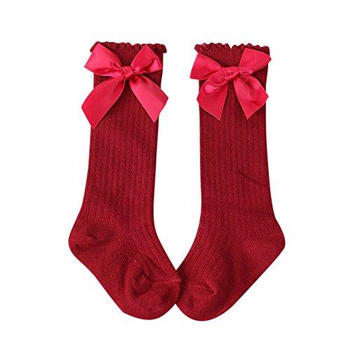 Huhu833 Baby Socken, Neue Kinder Kleinkinder Mädchen Große Bowknot Kniehohe Lange Weiche Baumwollspitze baby Socken Kinder (Rot, 0-2T)