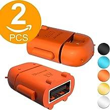Act 2 Pack Micro USB OTG to USB Adapter Micro USB Male OTG to USB Female B Adapter USB On The Go Adapter (Orange)