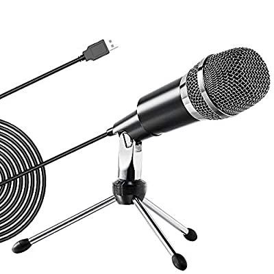 Ankuka USB Microphone PC Condenser Recording Microphone with Tripod Stand, Plug & Play, for Laptop Mac or Windows for Skype, Studio Recording, Broadcasting, Gaming and YouTube. Silver