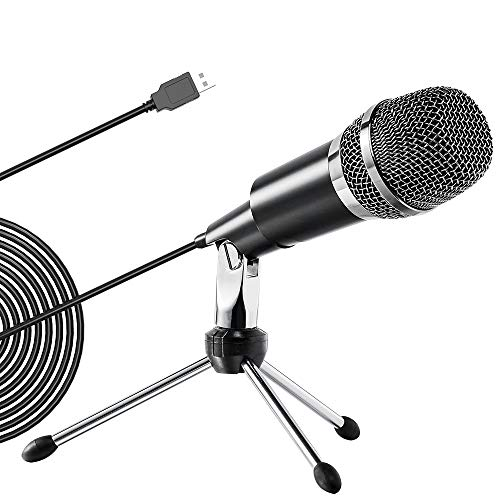 Ankuka USB PC Condenser Microphone, Plug and Play Omnidirectional Mic for Computer Desktop Laptop Online Chat, Broadcast Microphone for Skype,YouTube,Google Voice Search