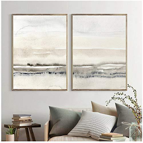 Unbekannt Beige Und Grau Leinwand Malerei Abstrakte Aquarell Drucken Moderne Poster Nordic Wandbilder Wohnzimmer Wohnkultur-50x70 cm Kein Rahmen