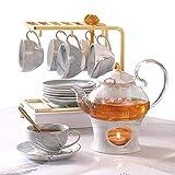 21 Pcs Tea Set of 6 for Girls, Handcraft Gray Porcelain Tea Party Set for Kids/Child, Real Glass Teapot/Tea pot Set with Warmer for Girls, Ceramic/China Tea Cup Set/Tea Gift Set with Shelf & 6 Saucers