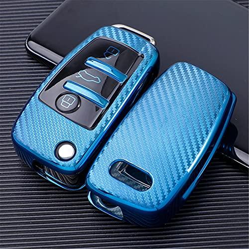 vorKDE Funda Protectora para Llave de Coche TPU de Fibra de Carbono Suave Funda Protectora de Piel, para Audi C6 A7 A8 R8 A1 A3 A4 A5 Q7 A6 C5 Llave de 3 Botones