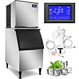 VEVOR 110V Commercial Ice Maker 400LBS/24H, 350LBS Large Storage Bin, ETL Approved, Clear Cube, Advanced LCD Panel, SECOP Compressor, Air...