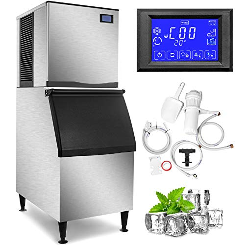VEVOR 110V Commercial Ice Maker 400LBS/24H, 350LBS Large Storage Bin, ETL Approved, Clear Cube, Advanced LCD Panel, SECOP Compressor, Air Cooled, Quiet Operation, Include Scoop & Premium Water Filter