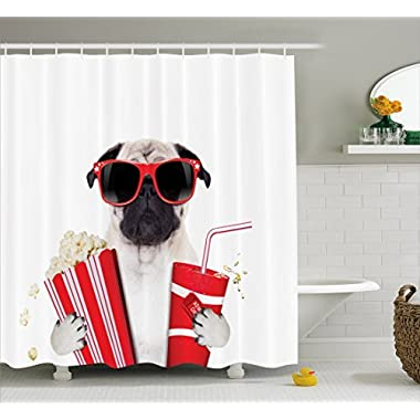 Ambesonne Pug Shower Curtain, Going to the Movies Pug Dog Popcorn Soft Drink Movie Star Glasses Animal Fun Image, Fabric Bathroom Decor Set with Hooks, 70 Inches, Cream Red Black