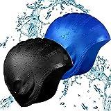 YFOX Gorro de natación de silicona, protección auditiva, impermeable, antigolpes, tapa para la cabeza, orejas, unisex, adecuado para personas con pelo largo, viene con una caja