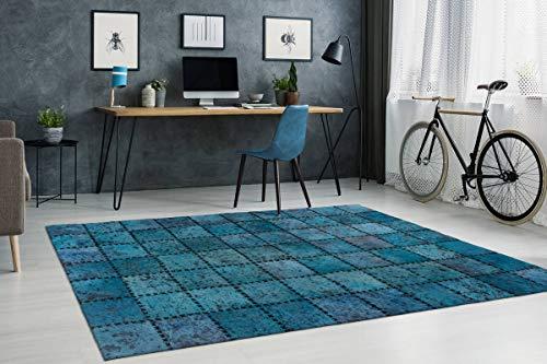 One Couture - Alfombra de Piel con Patchwork, Cosida, Color Azul y Turquesa, para salón, Comedor, Pasillo, 120 x 170 cm, MD2-452
