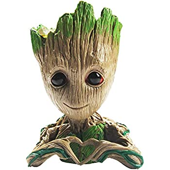 B-Best Guardians of The Galaxy Baby Groot Pencil Holder Pen Pot Desk or Flower Pot with Drainage Hole Cute Planter Perfect for a Tiny Succulents Plants 6""