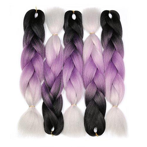Jumbo Braiding Hair (Black/Purple/Silver Grey) 5pcs Jumbo Braid Hair Extension Ombre Colors For Box Braids Senegal Twist Braids 24 Inch Soft Kanekalon Fiber