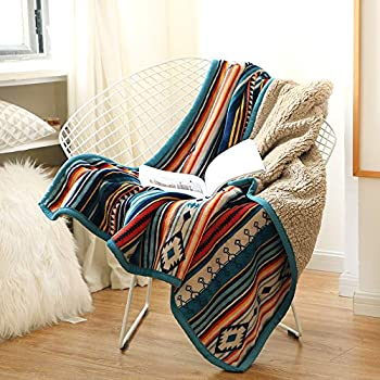 Bohemian Fleece Sherpa Blanket Soft Plush Flannel Throw Blanket for Couch Bed Chair Office Sofa Camping- 50x60Inch