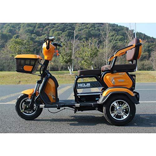 Lyanh Elektro-Dreirad im Freien Erwachsene elderlyeisure Behinderte Reise Roller 48V20A Lithiumbatterie maximale Belastung 180 kg eine Tasten-Fernbedienung,Orange