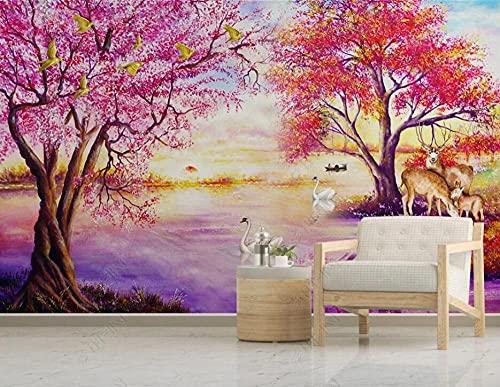 Papel Pintado Pared Dormitorio Salon Decoración de Paredes Floral Woods Swan Deer Fotomurales Decorativos Pared Papel Tapiz Custom Mural Pared 250x175cm
