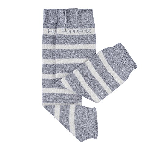 HOPPEDIZ® Baby-Stulpen aus Kashmir/Merinowolle grau melange mit creme Streifen